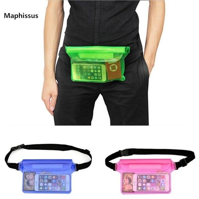 Bolsa impermeable para nadar al aire libre, bolsa seca, funda de teléfono con cintura de PVC, bolsa protectora de almacenamiento