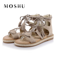 Summer Women Gladiator Sandals Genuine Leather Flats Sandals Cover Heel Casual Shoes Tassel Lace Up Size
