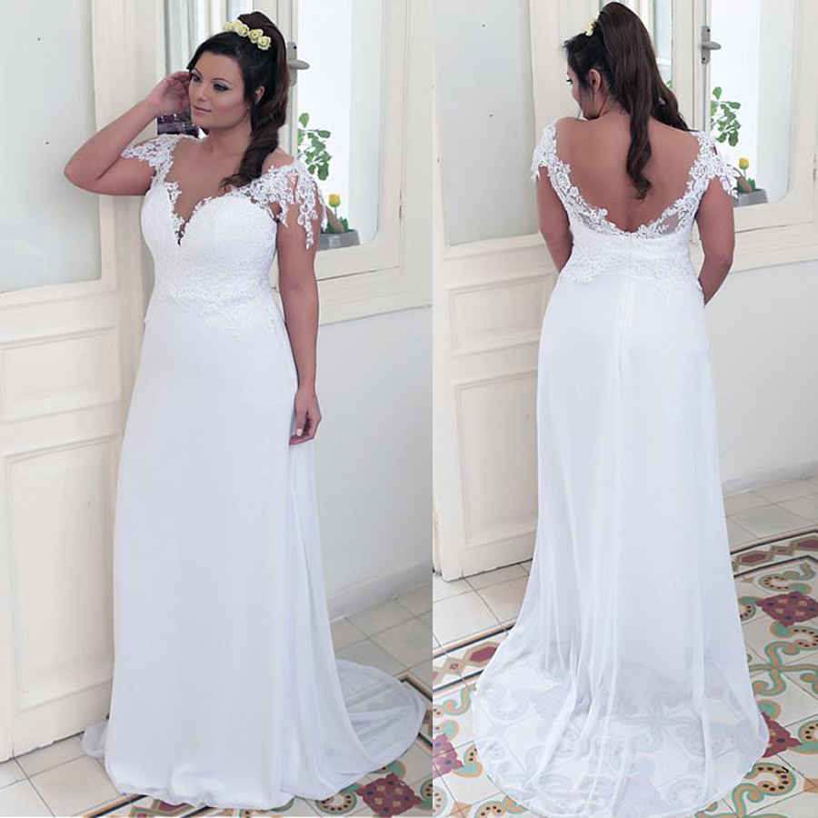 Winsome Chiffon Jewel Neckline A-line Plus Size Wedding Dresses With Lace Appliques White Bridal Gown 28W