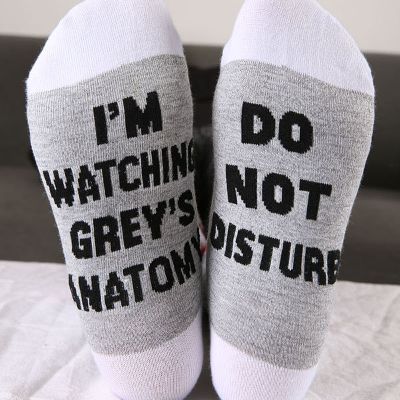 COSPLACOOL]I\'m Watching Grey\'s Anatomy Funny Socks Humor Words Print ...