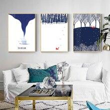 כחול מודרני HD Cavans שועל בעלי החיים ציור פוסטר בסגנון נורדי חמוד מושלג בתמונה לחיים יערות וול אמנות עיצוב בית חדר