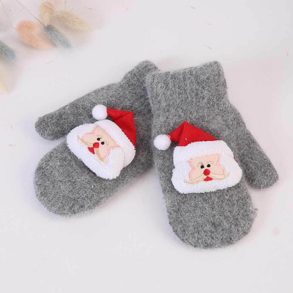 ילדים חורף כפפות מכירה לוהטת כותנה תינוק כפפות קריקטורה פעוט תינוק לעבות חג המולד סנטה בנות בני מלא אצבע כפפות חמות