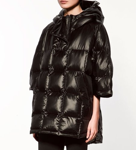 164e60891623 Cloak type down coat outerwear thickening poncho hooded half sleeve women  winter fashion solid cape jacket free shipping WC0936