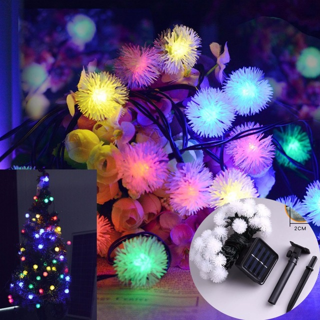 Solar Xmas Led Fair Lights Chuzzle Ball Festival Christmas Lighting Outdoor Garden Patio 30led New Year Party