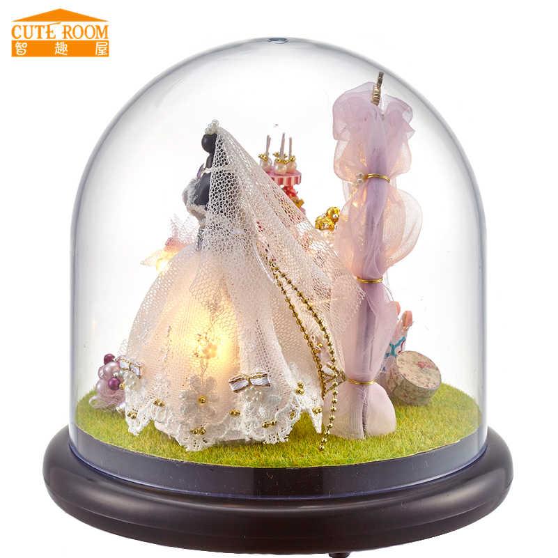 DIY Novelty Ball House Miniature Doll House Furniture Miniatura Toys for Wedding Gift Present,Love Forever Dollhouse Kits Model