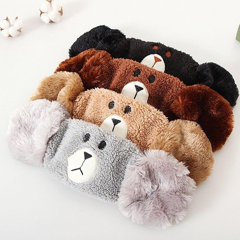 LNRRABC Bear Cartoon Plush Warm Ear Protection Earmuffs Cute Half Winter Cotton Funny Face Masks For Women