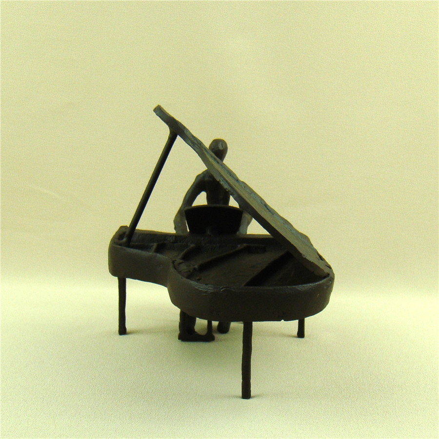 Abstract Metal Pianist Statue Decorative Cast Iron Piano Player ...