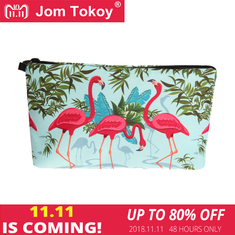 Jom Tokoy 2018 New fashion Cosmetic Bag Fashion Women Brand makeup bag 3D Printing Flamingos cosmetic organizer bags unicorn 3d printing fashion makeup bag maleta de maquiagem cosmetic bag necessaire bags organizer party neceser maquillaje