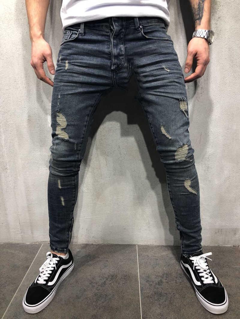 Wiele modeli mężczyzn Vintage streetwear hip-hopowe postrzępione dżinsy motocyklisty zniszczone postrzępione męskie motocyklowe biegaczy obcisłe spodnie dżinsowe 40