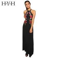 HYH HAOYIHUI Fashion Women Dress Black Floral Print Embroidery Backless Crew Neck Vestidos Sexy Slim Chiffon