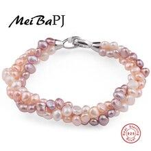 [YinFeng] color mezclado Naturales brazalete de perlas de Agua Dulce perla pulsera hecha a mano pura con el real 925 broche de plata de la joyería fina