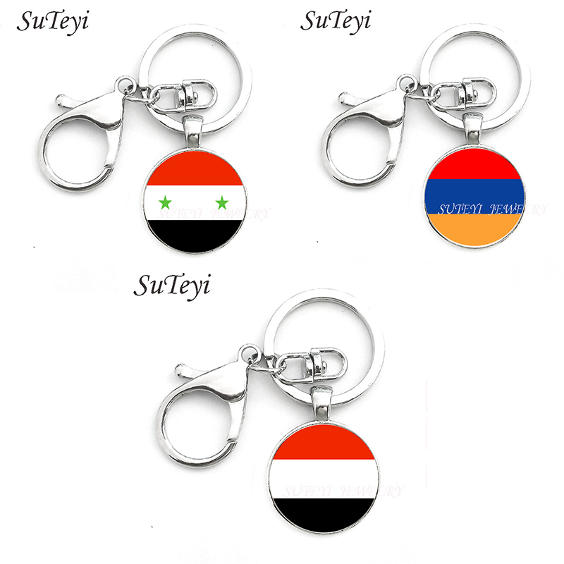Personality Time Gem Key Chain Syria And Armenia And Yemen Flag Art Key Ring Jewelry Handmade Crystal Keychain For Unisex