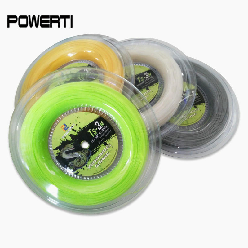 POWERTI 1.30mm Nylon Tennis String Snake Soft Feeling 200m Reel Tennis Racquet Training String 56-59Pounds TS-3M