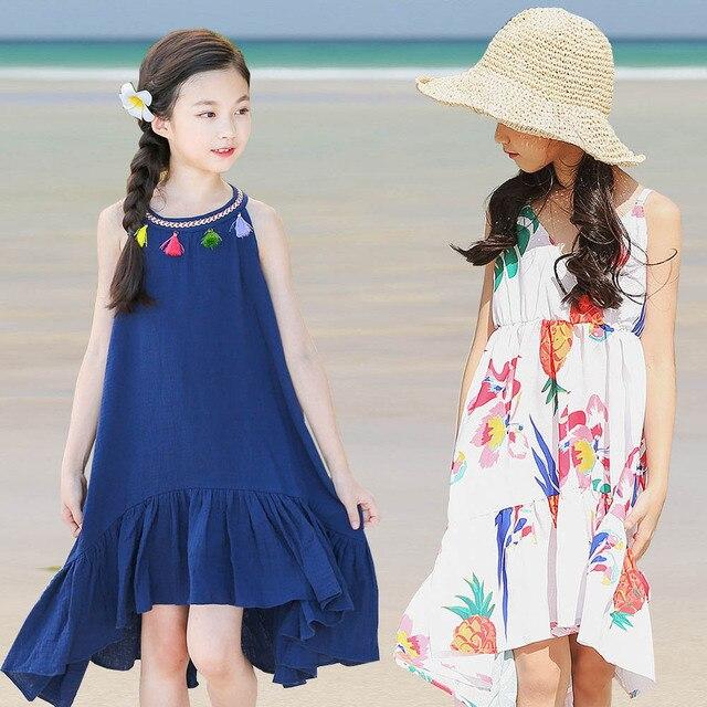 2018 Летнее платье для девочек Дети богемное платье для девочек платья для девочек 10 лет дети Костюмы пляжное платье для маленьких девочек Костюмы