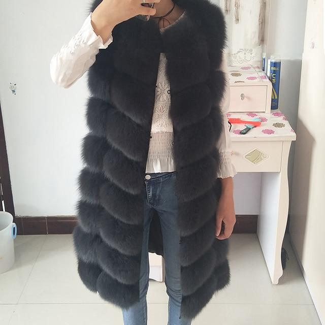 Natural Real Fox Fur Vest Natural Fur Coat For Jacket female coats Vest Waistcoat  long Fur Coats Real Fur Coat Fox Vest Jacket 2