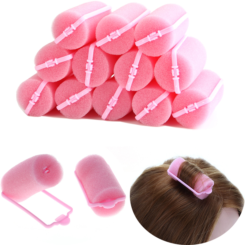 12Pcs Pink Buckle Soft Sponge Foam Hair Curler Roller Easy Curlring Styling Salon Barber Hairdressing Hairstyling Twist Tools