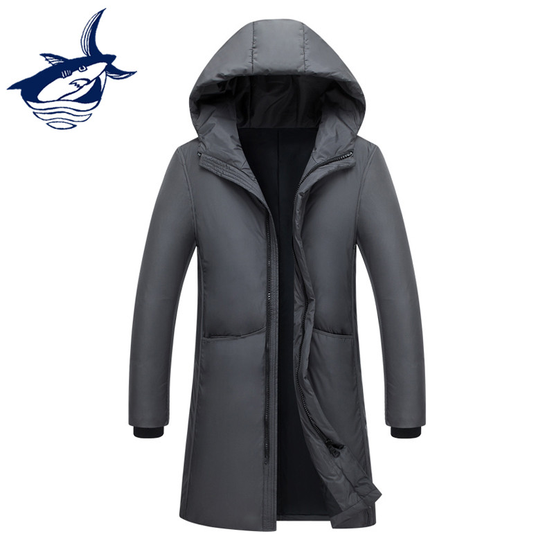 Brand waterproof windbreaker men's winter jacket hat male long   coat   casual fashion white duck   down   jacket men doudoune homme