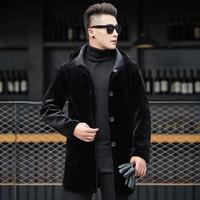 2018 Двусторонняя одежда меха Тренч Для мужчин Повседневное средней длины с капюшоном зимние Для мужчин пальто брендовая одежда плюс Размеры