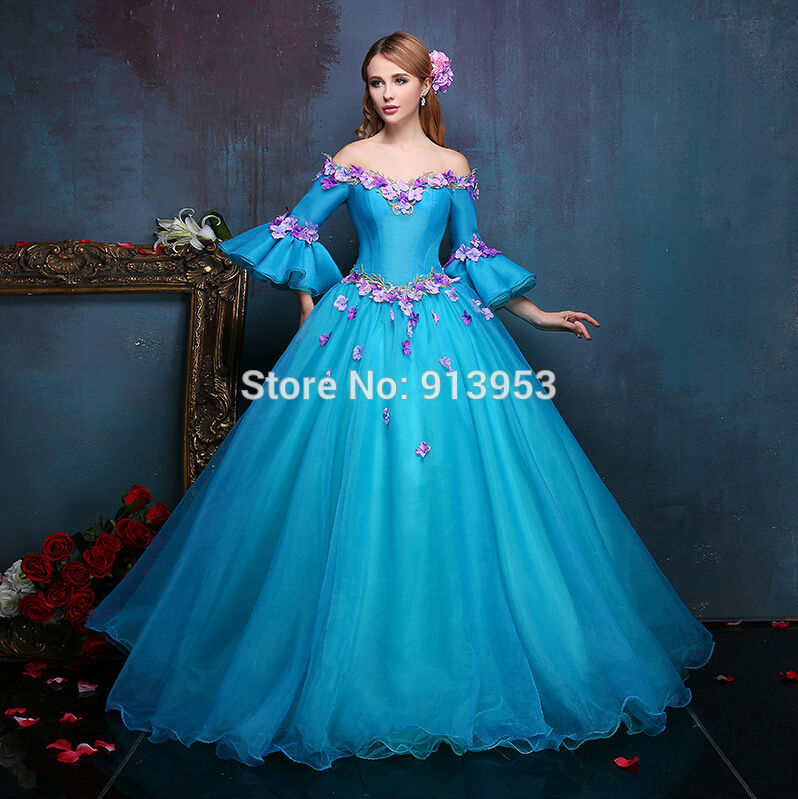 real pictures off the shoulder princess organza turquoise
