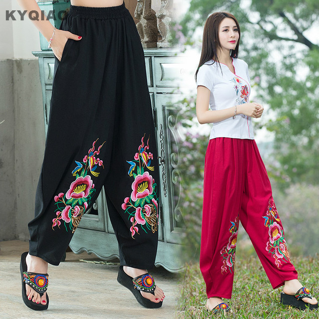 1f529d912d4cc KYQIAO Plus size women clothing ethnic pant female spring autumn Mexico  style loose black red embroidery wide leg pant trousers