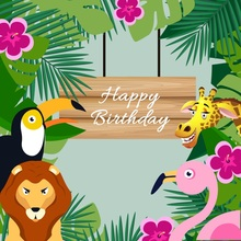 Laeacco Jungle Party Safaris Cartoon Animals Baby Photography Backgrounds Customized Photographic Backdrops For Photo Studio