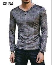 Men's T-shirt velvet autumn men's v-neck jacquard fashion T-shirt with long sleeves and long sleeves