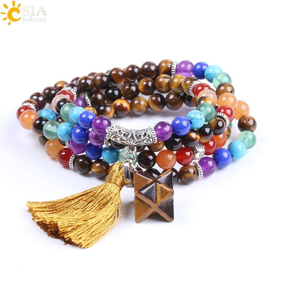 CSJA Natural 7 Chakra Tiger Eye Mala Beads Multilayer Femme Men Bracelets Bangles Bohemian Tassel Merkabah Energy Jewellery F198 все цены