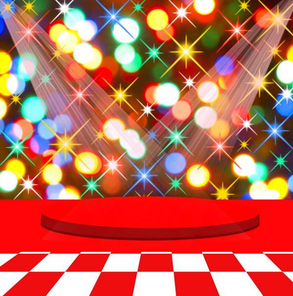 10x10ft Sparkle Stars Bokeh Neon Licht Rode Tapijt Ronde Podium Custom Fotostudio Achtergrond Vinyl 300 Cm X 300 Cm Glanzend Oppervlak