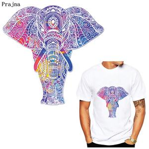 Prajna Elephant Patches Iron On Transfers Vinyl Heat Transfer Ironing Thermal Stickers On Clothes T-shirt DIY Skull Patch Badges(China)