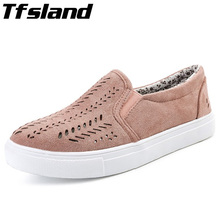 Tfsland Women Cut-outs Elastic Band Vulcanized Shoes Female Flock Slip-on Shallow Breathable Flat Walking Shoes Sneakers Size 42