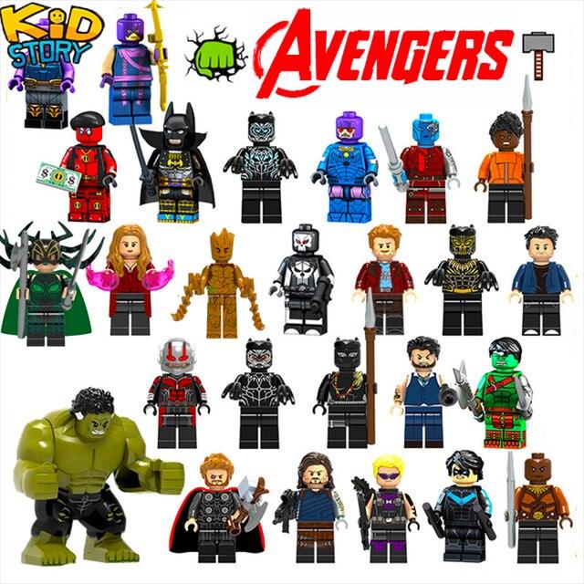 1 pcs Vespa Formiga Figuras Homem de Ferro Avengers Capitão Marvel Thor Spiderman Black Panther Legoings Building Blocks Brinquedos Para Crianças Y
