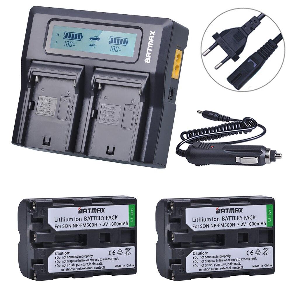 2 pc NP-FM500H NP FM500H NPFM500H Batterie + LCD Ultra Rapide Double Chargeur pour Sony A57 A65 A77 A99 A350 A550 A580 A900 Appareil Photo Numérique