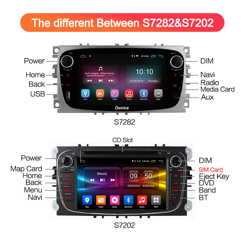 Ownice K1 K2 Android Voiture lecteur dvd 2 Din radio gps Navi pour Ford Focus Mondeo Kuga C-MAX S-MAX Galaxy Audio autoradio stéréo - 4