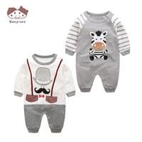 2PCS LOT Newborn Baby Clothing O Neck Cute Cartoon 100 Cotton Long Sleeve 0 12M Body