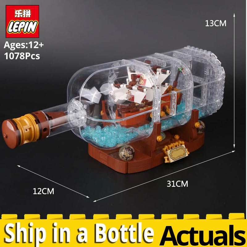 LEPIN Movie Series 16051 The Ship in a Bottle Set Building Blocks Bricks marvel educational toys Gift legoings IDEAS 21313 model new 1628pcs lepin 07055 genuine series batman movie arkham asylum building blocks bricks toys with 70912 puzzele gift for kids