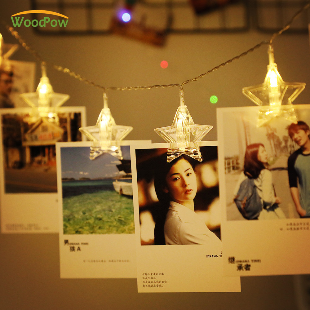 WoodPow 3M 6M Star Photos Clip String Light 20 40 LED Card String Fairy Lights Battery Powered Lamp Party Wedding Festival Decor