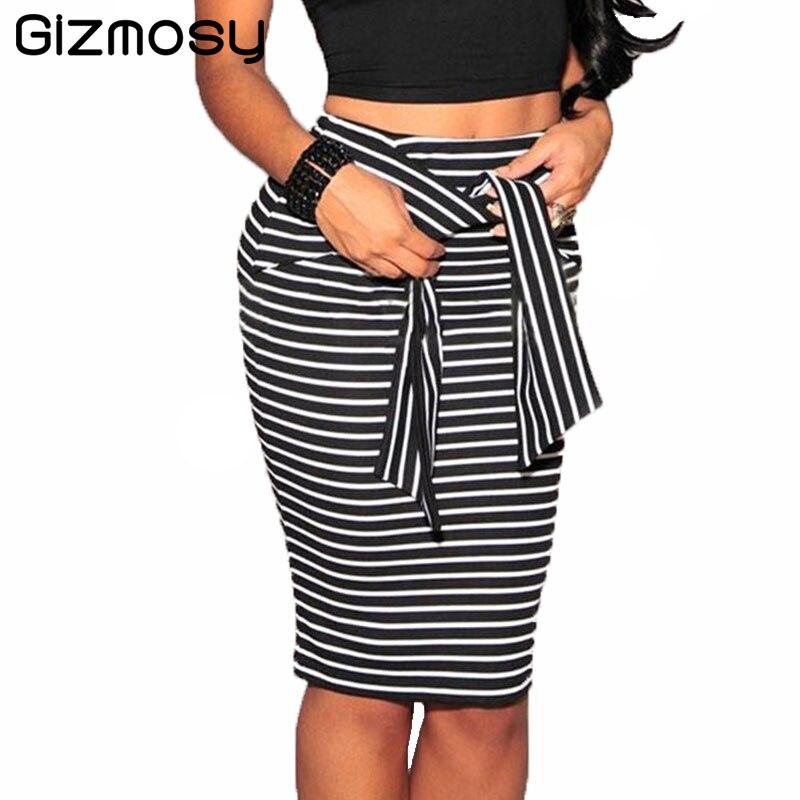 2017 Skirt Women Summer Casual High Waist Striped Bodycon Skirts Short Knee Length Pencil Skirt ...
