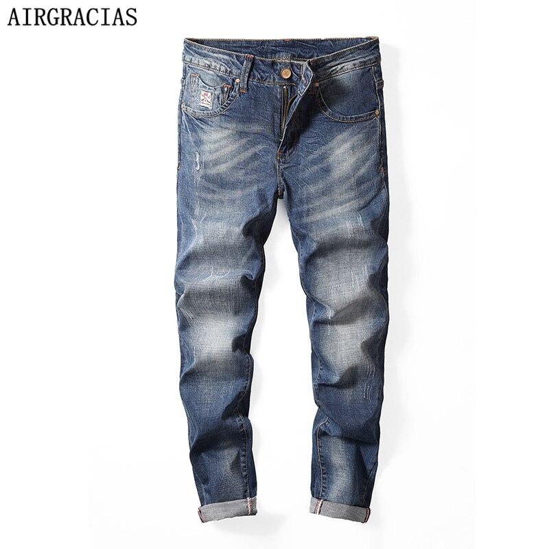 AIRGRACIAS Brand Jeans Straight Denim Jeans Men Plus Size 28-40 Casual Men Long Pants Trousers 98% Cotton Brand Biker Jean New