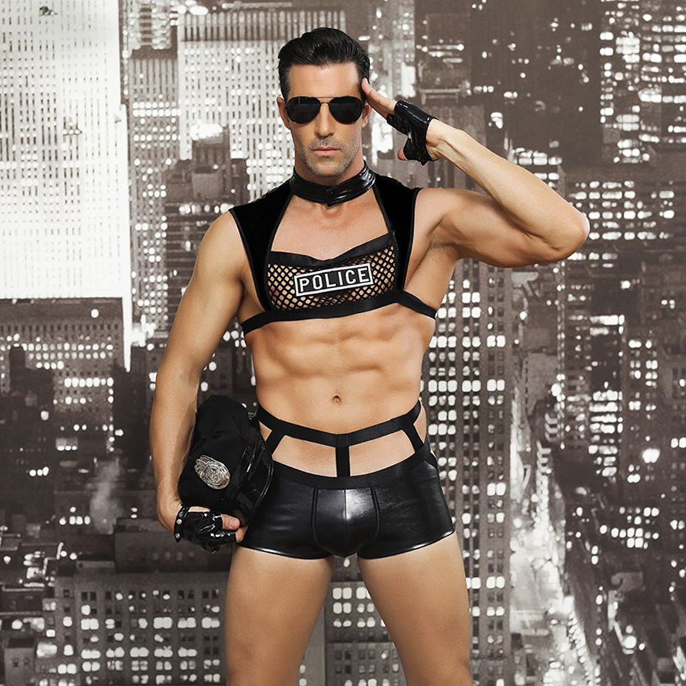 JSY Male <font><b>Sexy</b></font> Police Costume Black Latex Mesh <font><b>Sexy</b></font> Lingerie Hot Erotic <font><b>Cop</b></font> Uniform Police Role Play Sex Clothes For Adult Men image