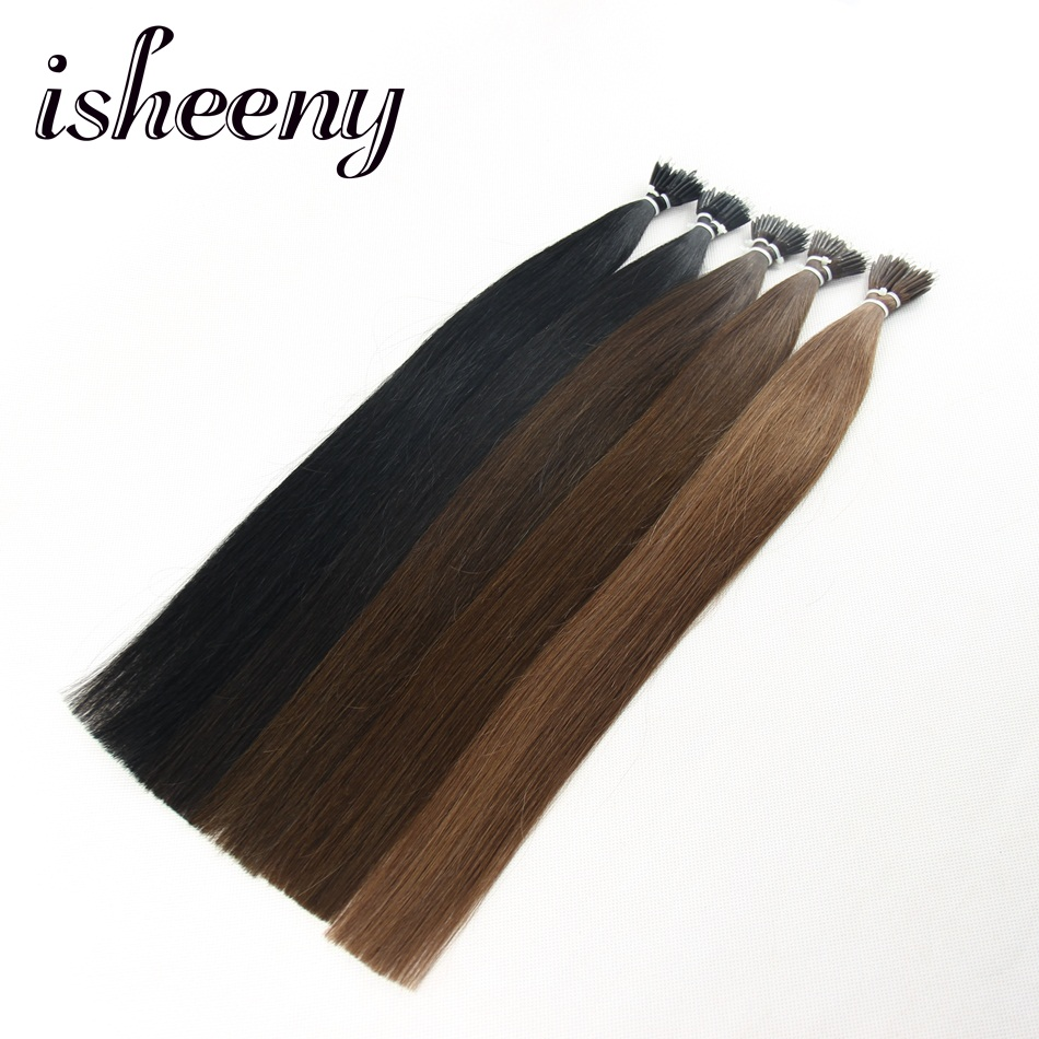 Isheeny 14 22 Inch Micro Ring Remy Human Hair Extensions Straight Black European Nano Ring Hair