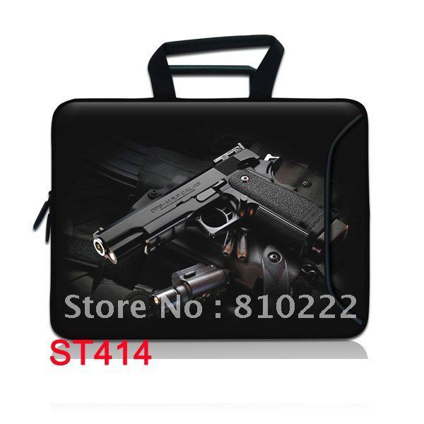 "15.4"" Double Zipper Cool appliance Pattern latop bag Handle Bag messenger Bag For Laptop Computer -ST414"