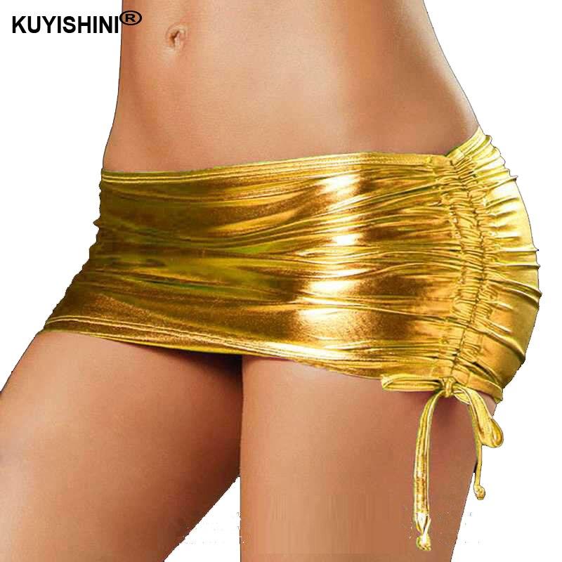 Buy Sexy Latex Nightclub Mini Skirt Women PVC Dancing Clubwear Short Skirts Faux Patent Leather Micro Mini Skirts Dancing Skirt