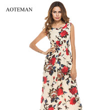 AOTEMAN Long Summer Women Dress Sexy Vintage Print Floral Sleeveless Dress Female Casual Bohemian Beach Party Dresses Sundress(China)