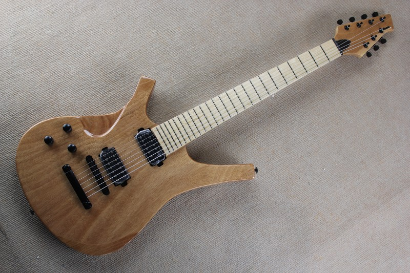 Custom Shop High Quality maple Neck + Solid wood body Left Hand 7 string Burlywood Electric Guitar Free Shipping