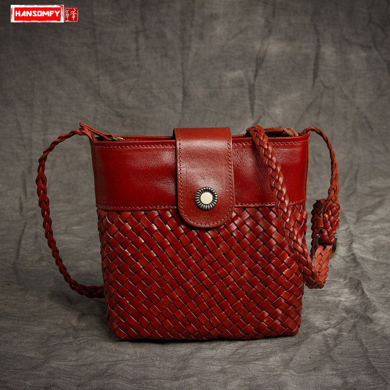 2018 new vintage hand-woven Women handbags layer cowhide female messenger bag mat pattern shoulder diagonal package bags2018 new vintage hand-woven Women handbags layer cowhide female messenger bag mat pattern shoulder diagonal package bags