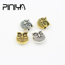 2018 Metal Animal Owl Head Beads Charm Bracelet Vintage Beads Accessories for Needlework Diy Jewelry Making vintage layered owl beads bracelet for women