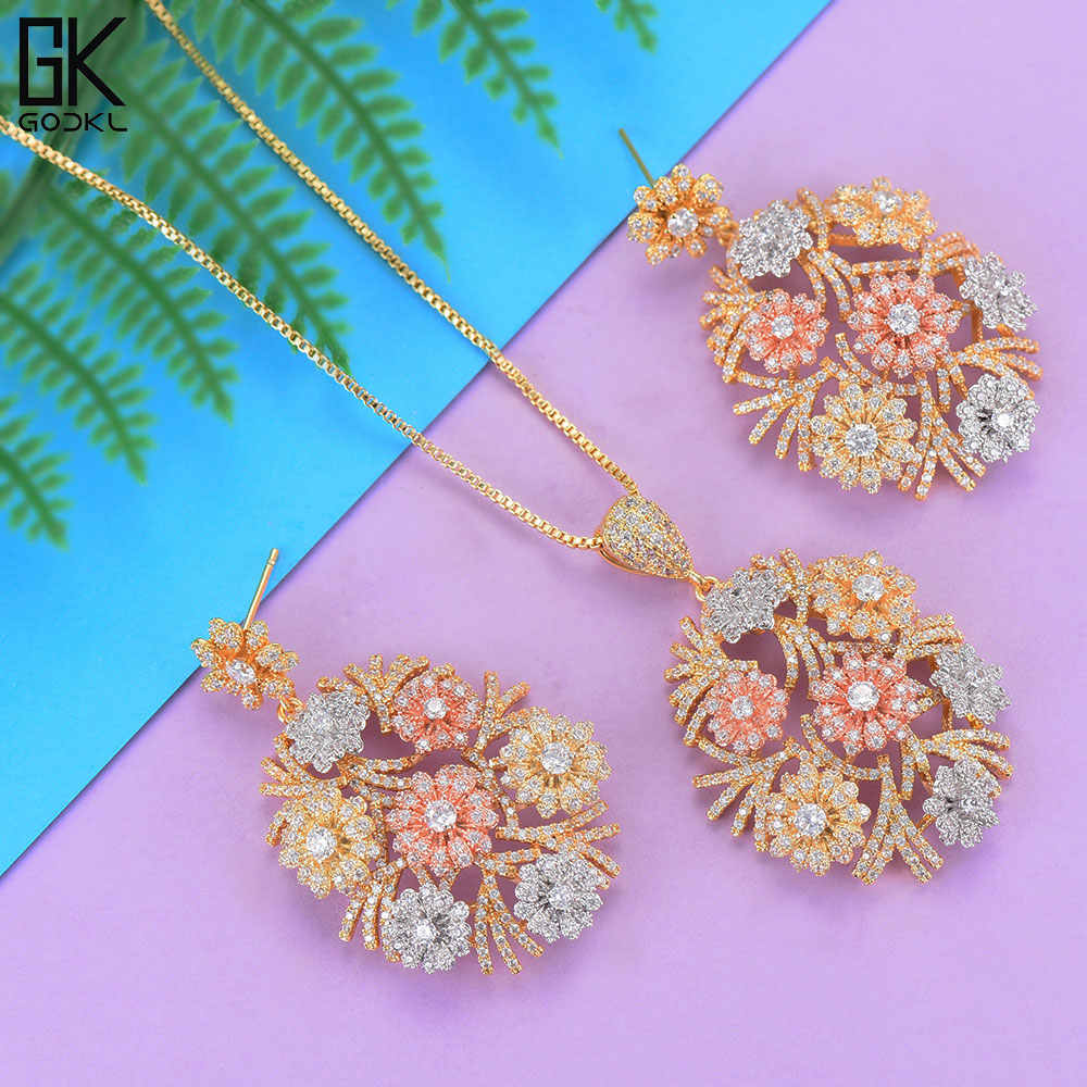 GODKI Luxury Flower Necklace Earring Sets Cubic Zircon Crystal CZ jewelry Sets for women Wedding Indian Bridal Jewelry Sets 2018