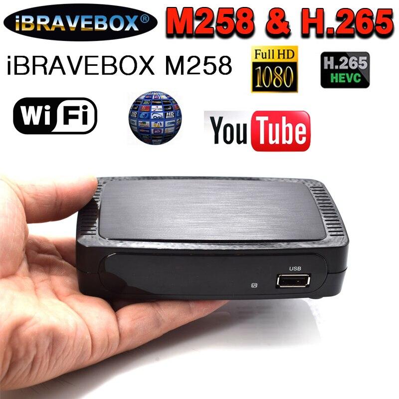 IBRAVEBOX M258 boîtier de télévision intelligent Iptv/Ott HEVC et H.264 décodeur M258 prise en charge du récepteur de télévision par Satellite ccccam usb wifi