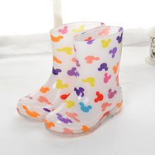 Kids Rainboots for Boy Girl Baby Students Cute Non-slip Rain Shoes Add Cotton Prince Princess Rain Boots PU Waterproof for Child