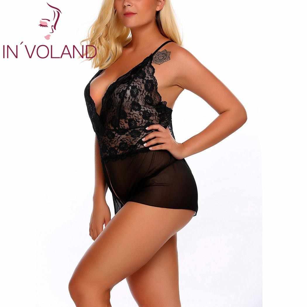 149e493e10e ... IN VOLAND Plus Size Women Sexy Lingerie Sleepwear Bodysuit XL-5XL  Spaghetti Strap Lace ...